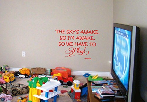Frozen Quote Vinyl Wall Decal Lettering Sky'S Awake So We Have To Play Princess front-527533