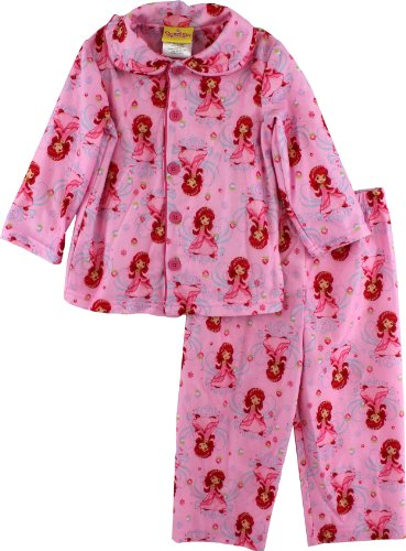 """Strawberry Shortcake """"Berry Princess"""" Toddler Girls Pink Flannel Coat Style Pajama Set Size 2T-4T (4T) front-900836"""