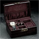Brown Croco Leather Watch &amp; Cufflink Box Case