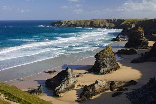 Bedruthan Steps On The Shores Of Cornwall Wall Decal - 52 Inches W X 35 Inches H - Peel And Stick Removable Graphic front-801891
