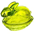 Large Green Glass Rabbit Candy Dish