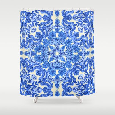 Society6 - Cobalt Blue & China White Folk Art Pattern Shower Curtain by Micklyn