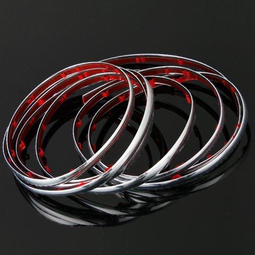 fitTek® Auto Aufkleber 8mm Chrom Streifen Silber fuer Auto Grill