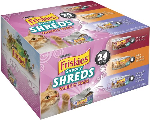 Friskies Savory Shreds Cat Food Variety Pack, 8.25-Pound