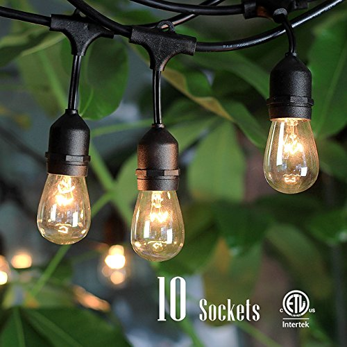 Outdoor String Lights with 10 Dropped Sockets, SHINE HAI UL-listed for Commercial and Industrial Use Linkable Light Strings, Perfect for DIY with 48 FT Length Patio Lights, 14 FT (Copper Freeze Plug compare prices)