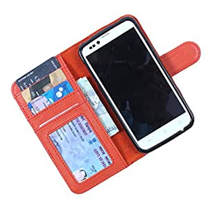 Dooda Genuine Leather Wallet Flip Case For Intex Aqua Style (ORANGE)