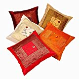 Marubhumi Zari Hand Embroidery Work Silk 5 Piece Cushion Cover Set - Multicolor