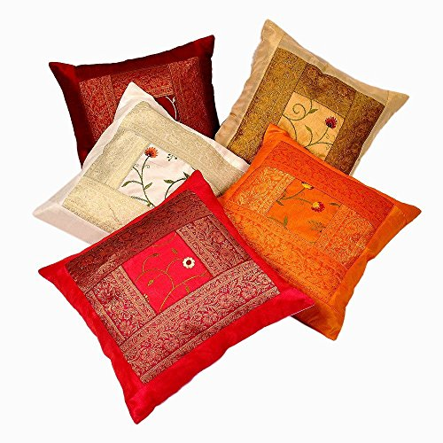 Rastogi Handicrafts Zari Hand Embroidery Work Silk 5 Piece Cushion Cover Set - Multicolor
