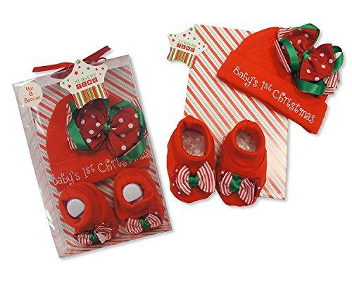 Bambino Primo Natale 2Piece Set berretto e scarpine in confezione regalo