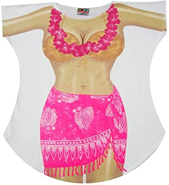 Pink Sarong Bikini Cover up T-shirt Lady's Fun Wear