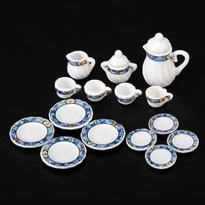 sodial r 15 pezzi casa delle bambole in miniatura stoviglie di porcellana da tavola tazza di. Black Bedroom Furniture Sets. Home Design Ideas