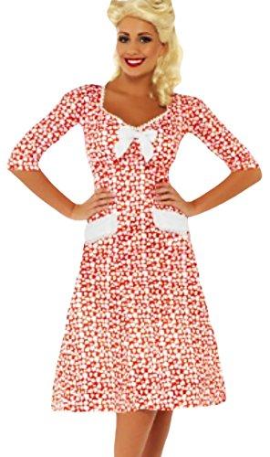 erdbeerloft - Damen Retro Sweetheart 40er Jahre-Stil Frauen-Kostüm, weiss rot, 40-42 M