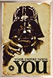 Framed Star Wars - The Empire Needs You - Darth Vader 24x36 Poster in Brushed Champagne Finish Wood Frame