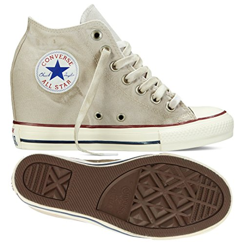 Converse Chuck Taylor Lux Mid 547194C Turtle Dove/Beige Hidden Platform Wedge Women's Shoes (size 8)