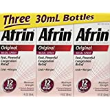 Afrin Original Nasal Spray & Decongestant, Fast/ Powerful Congestion Relief, 3 Bottles of 1 Fl Oz Each.