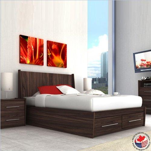 Sonax Pacific Contemporary Ebony Pecan Double Bed 2 Piece Set