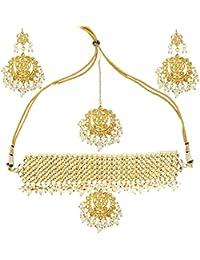 Mehrunnisa Big Rajasthani Kundan & Pearls Choker Necklace Set For Women (JWL1698)