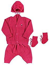 Woollen Sweater Full Suit (0-6 Months) (Strawberry)