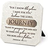 Journey White Resin Plaque With Bronze Title Bar And Scripture Verse Jeremiah 29:11