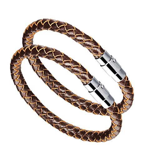 316L Stainless Steel 6mm Mens Womens Braided Bangle Leather Bracelet Rope Magnetic Clasp (Pattern B-2pc-Brown)