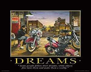 Motorcycle Motivational Poster Art Print 11x14 Harley Davidson Racing