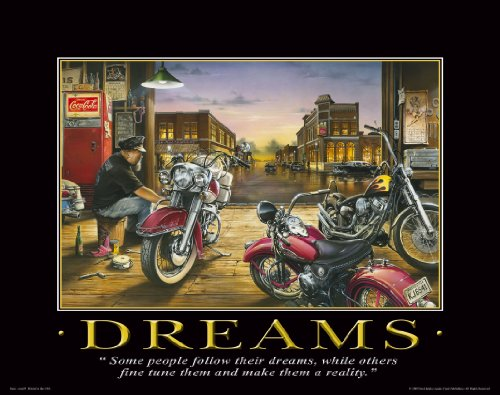 Motorcycle Motivational Poster Art Print 11x14 Harley Davidson Racing Helmets Jackets Sturgis Rally Wall Decor Pictures