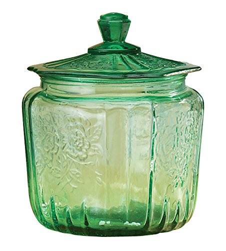 miles-kimball-green-depression-style-glass-biscuit-jar