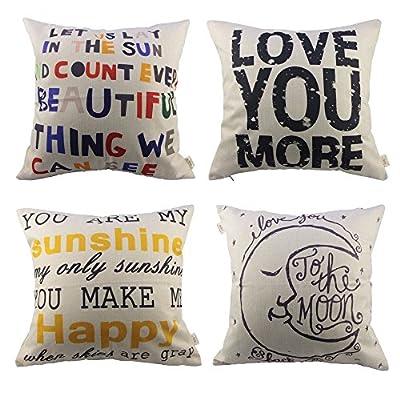 HOSL 4 Pack Cotton Linen Pillow Case Decorative Cushion Cover (NO Pillow)