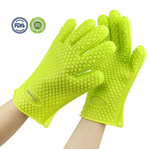 Silicone Gloves, Heat Resistant Silicone Grill & Oven Gloves(Pair) Withstand Heat Up To 428°F / 220°C, Use As Cooking, Grilling, Baking, Working, Barbecue Mitts