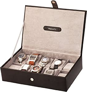 Mele Black 10 Watch Display Box Case New Bonded Leather