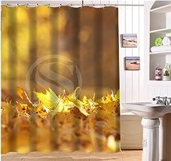New WJY425Y4 Custom The beautiful autumn maple leaves Fabric Modern Shower Curtain bathroom Waterproof XY4 Purple 60X72inch