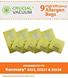 9 Kenmore 5055, 50557 and 50558 Allergen Filtration Vacuum Cleaner Bags - Designed to fit Kenmore 20-5055, 20-50557, 20-50558; Designed & Engineered by Crucial Vacuum