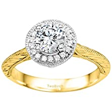 buy Engraved Vintage Halo Engagement Ring With Forever Brilliant Moissanite By Charles Colvard In Two Tone Silver (0.43 Ct. Twt.)