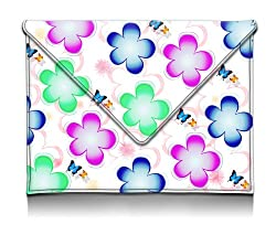 MyGift 8-10.1 inch Playful Blue Green Yellow Daisy Cutout Pattern E-reader Pouch Lightweight Cover Case Slim Fit Tablet Carrying Sleeve for iPad 1 2 & 3 Samsung Galaxy Tab Kindle 1 2 & 3 Kindle Fire HD
