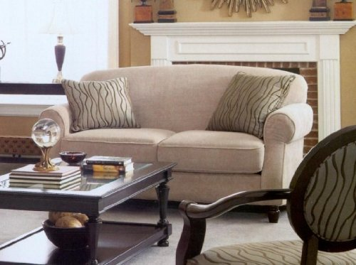 Buy Low Price Coaster Bradford Fashion Design Loveseat in a Beige Chenille Finish with Accent Pillows (B003376PXI)