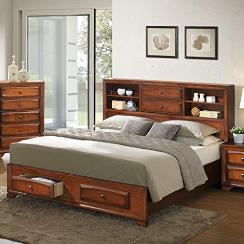 Roundhill Furniture Asger Antique Oak Finish Wood King Size Bookcase Storage Platform Bed (King Size Storage Headboard compare prices)