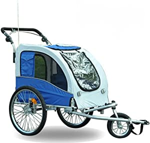 Aosom Elite II Pet Dog Bike Bicycle Trailer Stroller Jogger w/ Suspension - Blue Blue