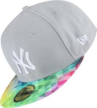 New York NY Yankees MLB Grey / Multi Coloured Trainbow New Era Cap 59Fifty Fitted Baseball Cap Size 6 7/8