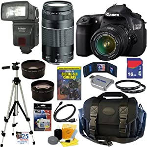 Canon EOS 60D 18 MP CMOS Digital SLR Camera with EF-S 18-55mm f/3.5-5.6 IS II Zoom Lens & EF 75-300mm f/4-5.6 III Telephoto Zoom Lens + Automatic TTL Flash + Telephoto & Wide Angle Lenses + 16GB Deluxe Accessory Kit