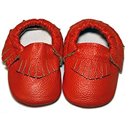 Baby Conda Handmade Orange Baby Moccasins * 100% Genuine Leather * Soft Sole Slip on Baby Shoes for Boys and Girls * 100% Money Back Guarantee Size 12 - 18 Months