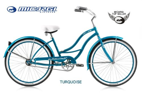"""Women'S Tahiti 26"""" Beach Cruiser Coaster Brake Stainless Steel Spokes One Piece Crank Alloy Turquoise Rims 36H W/ Fenders Color: Turquoise front-815950"""