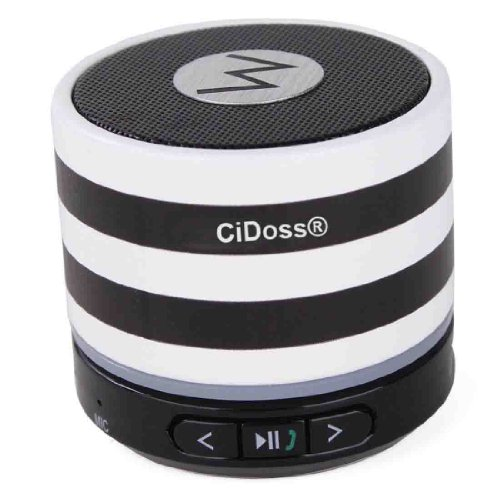 Cidoss® Portable Bluetooth Micro Mini Speaker, Powerful Loud And Clear Sound With Bass, Built In Mic, Works With All Pc, Iphone, Ipad, Itouch, Samsung, Htc, Blackberry, Nexus, All Phones And Mp3 Players (Zebra)