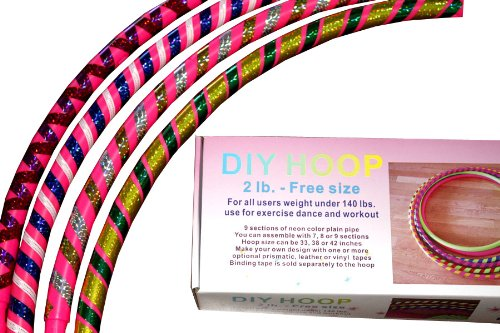 "Sports Hoop® - Diy Hoop™ 2B - 1.8Lb (Dia.40.5"") Large, Exercise Hula Hoop. Pink. 2 Tapes Included"