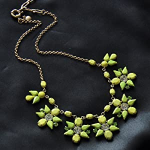 Yellow & Green Colorful Statement Necklace - Great Quality