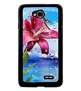 PrintDhaba Flower with Droplets D-1211 Back Case Cover for LG L90 (Multi-Coloured)