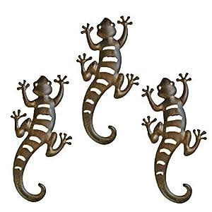 Set of Three Metal Lizard Or Gecko Animal Garden Wall Art by Gardens2you