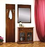 Set per ingresso o corridoio: pannello attaccapanni appendiabiti da muro con 3 ganci + specchiera da muro + credenza con 2 ante a vetro e cassetto. Made in Italy, direttamente dal produttore.