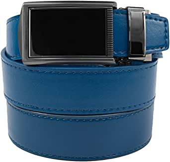 """SlideBelts Men's Leather Belt without Holes - Black Buckle / Blue Leather (Trim-to-fit: Up to 48"""" Waist)"""