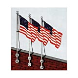Vertical wall mounted 10ft aluminum pole - USA 3 x 5 Sewn Nylon Flag