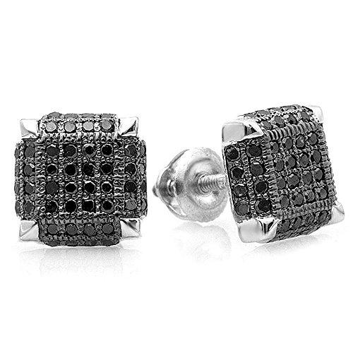 0.50 Carat (Ctw) Sterling Silver Black Rhodium Plated Diamond Ice Cube Mens Hip Hop Stud Earrings 1/2 Ct
